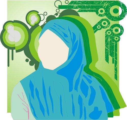 gadis berkerudung biru muda